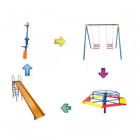 Kit Playground Super - Escorregador - Carrossel - Gangorra - Balanço - Cód. 1551