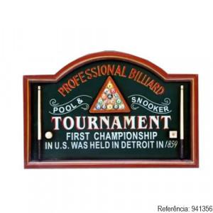Quadro Decorativo Com Alto Relevo Professional Billiards - Cód. 0407