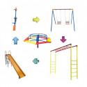 Kit Playground Master Completo - Escorregador + Gangorra + Balanço + Carrossel + Escada Horizontal - Cód. 1553