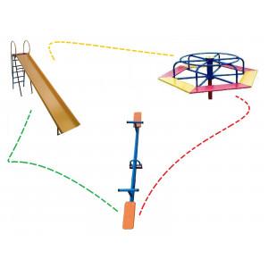 Kit Playground Three -Escorregador - Carrossel - Gangorra - Cód. 1550