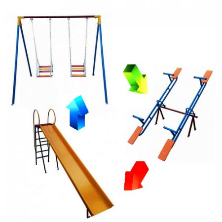 Kit Playground Otimize - Escorregador + Balanço + Gangorra - Cód. 1554